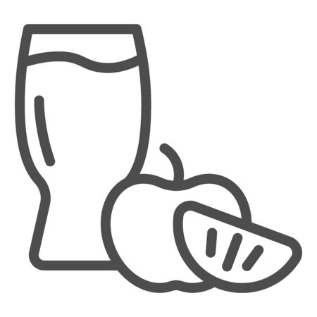 Apple cider glass line icon. Apple with glass vector illustration isolated on white. Apple cider vinegar outline style design, designed for web and app. Eps 10.