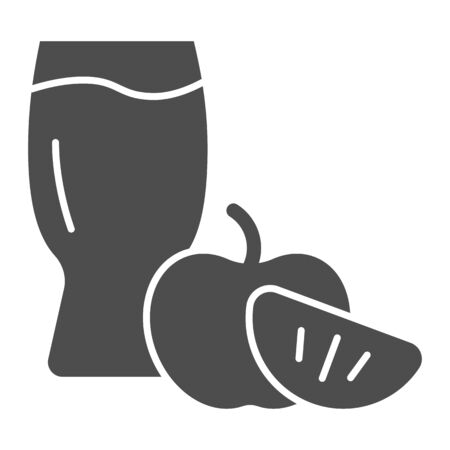 Apple cider glass solid icon. Apple with glass vector illustration isolated on white. Apple cider vinegar glyph style design, designed for web and app. Eps 10. Ilustração