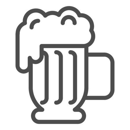 Beer mug with foam line icon. Lager glass with froth vector illustration isolated on white. Ale cup outline style design, designed for web and app. Eps 10.  イラスト・ベクター素材