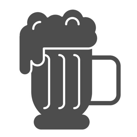 Beer mug with foam solid icon. Lager glass with froth vector illustration isolated on white. Ale cup glyph style design, designed for web and app. Eps 10.  イラスト・ベクター素材
