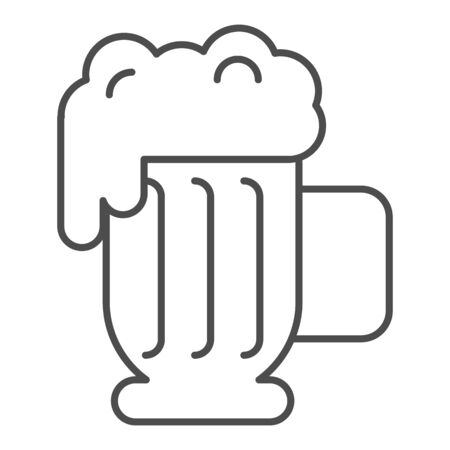 Beer mug with foam thin line icon. Lager glass with froth vector illustration isolated on white. Ale cup outline style design, designed for web and app. Eps 10.