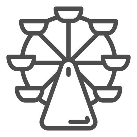 Ferris wheel line icon. Carousel vector illustration isolated on white. Fair outline style design, designed for web and app. Eps 10.