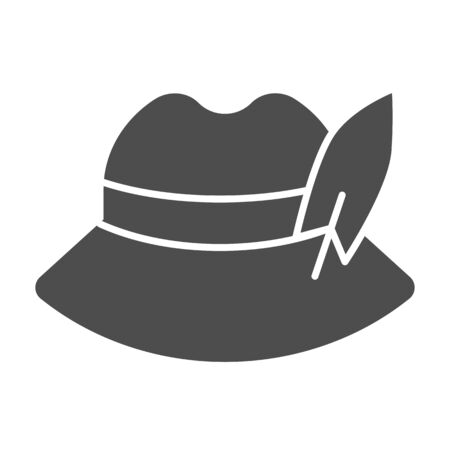 German feather hat solid icon. Oktoberfest hat vector illustration isolated on white. Traditional german cap glyph style design, designed for web and app. Eps 10.