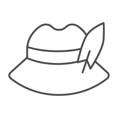 German feather hat thin line icon. Oktoberfest hat vector illustration isolated on white. Traditional german cap outline style design, designed for web and app. Eps 10.