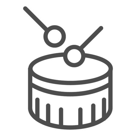 Snare drum line icon. Drum with drumstick vector illustration isolated on white. Percussion instrument outline style design, designed for web and app. Eps 10.