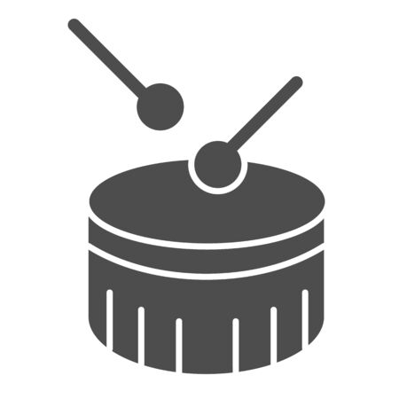 Snare drum solid icon. Drum with drumstick vector illustration isolated on white. Percussion instrument glyph style design, designed for web and app. Eps 10.