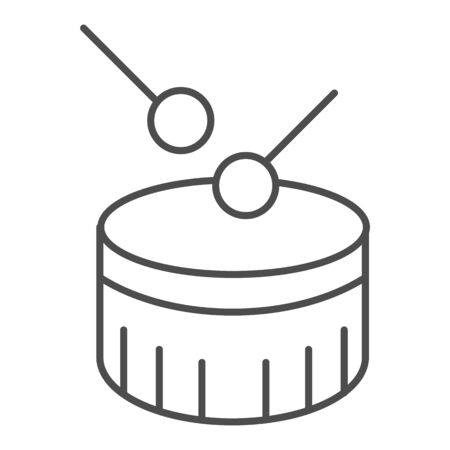 Snare drum thin line icon. Drum with drumstick vector illustration isolated on white. Percussion instrument outline style design, designed for web and app. Eps 10.  イラスト・ベクター素材