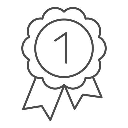Reward thin line icon. Round medal with ribbon vector illustration isolated on white. Award outline style design, designed for web and app. Eps 10. Banque d'images - 132068394