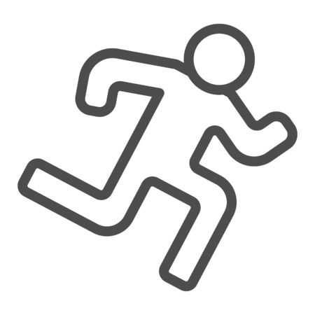 Runner line icon. Run vector illustration isolated on white. Athlete outline style design, designed for web and app. Eps 10.  イラスト・ベクター素材