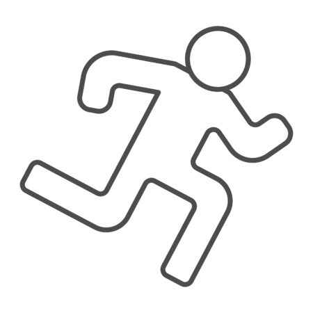 Runner thin line icon. Run vector illustration isolated on white. Athlete outline style design, designed for web and app. Eps 10.