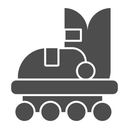 Roller skate solid icon. Roller shoe vector illustration isolated on white. Skates glyph style design, designed for web and app. Eps 10. Illustration