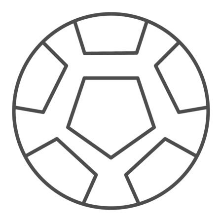 Soccer ball thin line icon. Football ball vector illustration isolated on white. Game ball outline style design, designed for web and app. Eps 10.