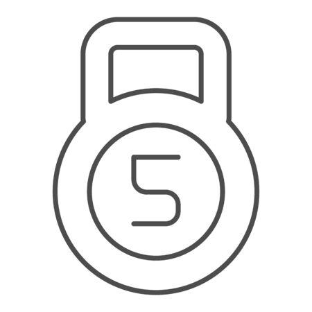 Kettlebell thin line icon. 5 kg dumbbell vector illustration isolated on white. Bodybuilding outline style design, designed for web and app. Eps 10. Çizim