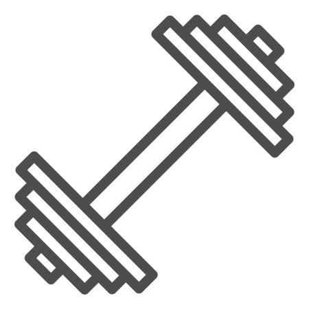 Dumbbell line icon. Weights vector illustration isolated on white. Bodybuilding equipment outline style design, designed for web and app. Eps 10. Çizim
