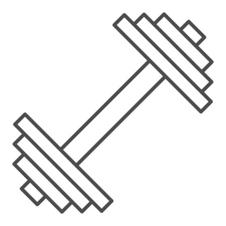 Dumbbell thin line icon. Weights vector illustration isolated on white. Bodybuilding equipment outline style design, designed for web and app. Eps 10. Çizim