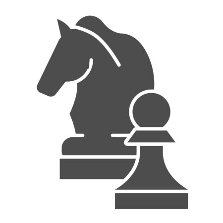 Chess knight solid icon. Chess horse vector illustration isolated on white. Equine glyph style design, designed for web and app. Eps 10.