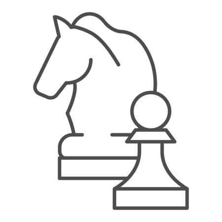 Chess knight thin line icon. Chess horse vector illustration isolated on white. Equine outline style design, designed for web and app. Eps 10.