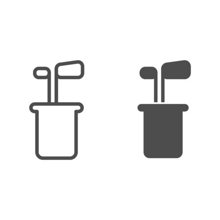 Golf clubs line and glyph icon. Golf equipment vector illustration isolated on white. Golfing outline style design, designed for web and app. Eps 10.