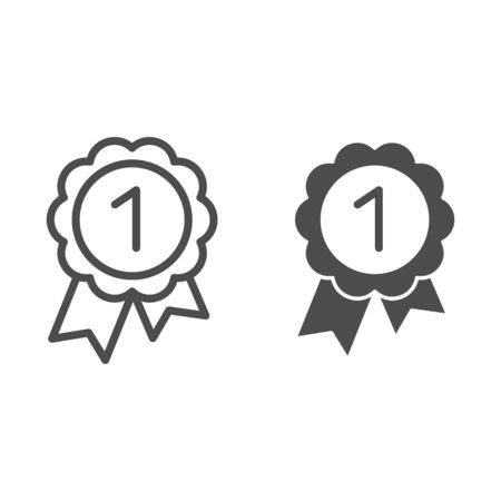 Reward line and glyph icon. Round medal with ribbon vector illustration isolated on white. Award outline style design, designed for web and app. Eps 10. Banque d'images - 132070392
