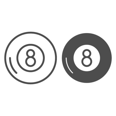 Billiards line and glyph icon. Billiard ball vector illustration isolated on white. Eight ball outline style design, designed for web and app. Eps 10.