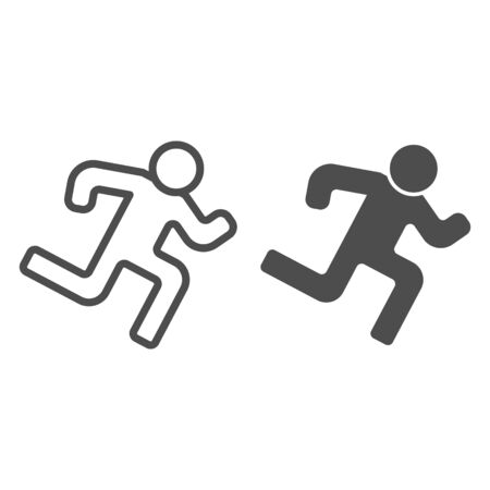 Runner line and glyph icon. Run vector illustration isolated on white. Athlete outline style design, designed for web and app. Eps 10.  イラスト・ベクター素材