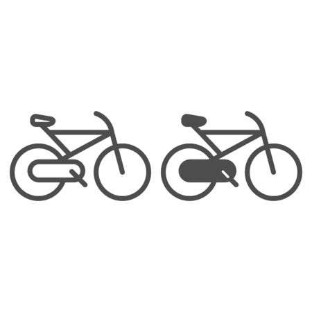 Bicycle line and glyph icon. Cycle vector illustration isolated on white. Sport activity outline style design, designed for web and app. Eps 10. Ilustracja