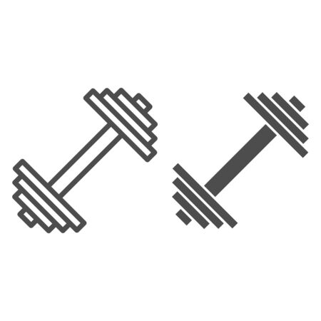 Dumbbell line and glyph icon. Weights vector illustration isolated on white. Bodybuilding equipment outline style design, designed for web and app. Eps 10.