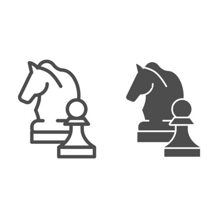 Chess knight line and glyph icon. Chess horse vector illustration isolated on white. Equine outline style design, designed for web and app. Eps 10.  イラスト・ベクター素材