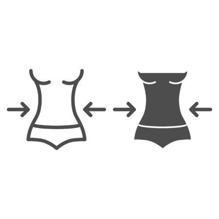 Gewichtsverlustlinie und Glyphensymbol. Fitness-Vektor-Illustration isoliert auf weiss. Umriss-Stil-Design der weiblichen Figur, entworfen für Web und App. Folge 10.