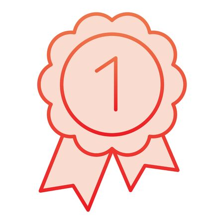 Reward flat icon. Round medal with ribbon red icons in trendy flat style. Award gradient style design, designed for web and app. Eps 10. Banque d'images - 132073372