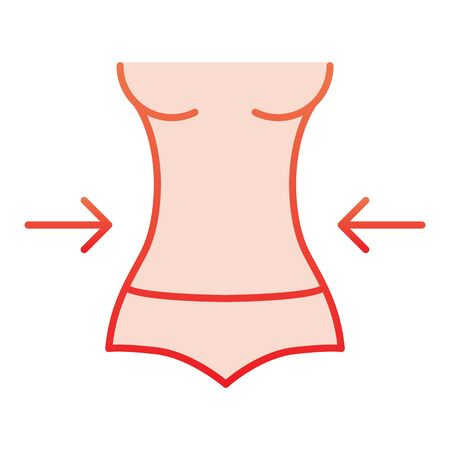 Weight loss flat icon. Fitness red icons in trendy flat style. Female figure gradient style design, designed for web and app. Eps 10.