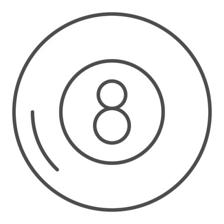 Billiards thin line icon. Billiard ball vector illustration isolated on white. Eight ball outline style design, designed for web and app. Eps 10.