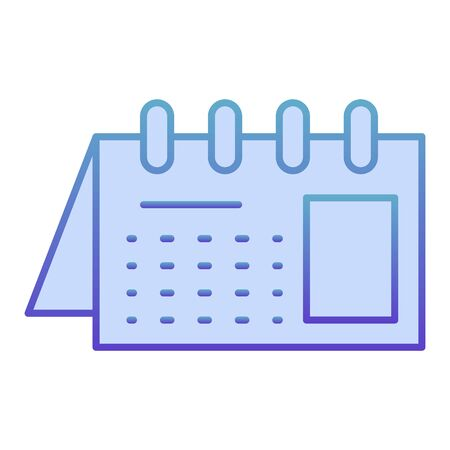 Calendar flat icon. Reminder on spiral blue icons in trendy flat style. Office agenda gradient style design, designed for web and app. Eps 10.