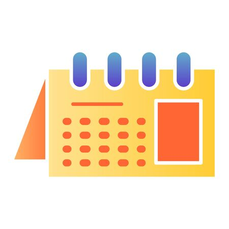 Calendar flat icon. Reminder on spiral color icons in trendy flat style. Office agenda gradient style design, designed for web and app. Eps 10.