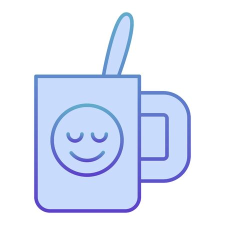 Cup with teaspoon flat icon. Souvenir mug with smiley blue icons in trendy flat style. Drink gradient style design, designed for web and app. Eps 10.