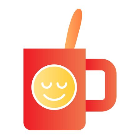 Cup with teaspoon flat icon. Souvenir mug with smiley color icons in trendy flat style. Drink gradient style design, designed for web and app. Eps 10.