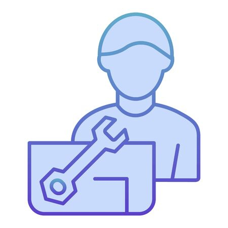 Repair engineer flat icon. Worker man blue icons in trendy flat style. Workman and spanner gradient style design, designed for web and app.