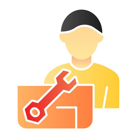 Repair engineer flat icon. Worker man color icons in trendy flat style. Workman and spanner gradient style design, designed for web and app.