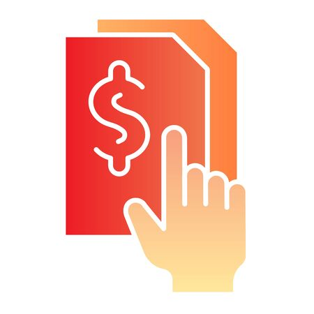 Bill paper flat icon. List with dollar color icons in trendy flat style. Sheet with dollar sign gradient style design, designed for web and app. Illusztráció