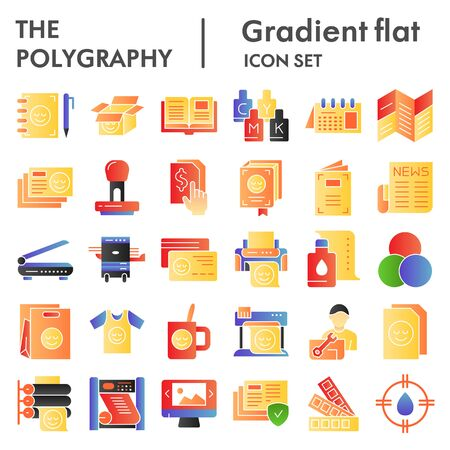 Polygraphy flat icon set, printing symbols collection, vector sketches, logo illustrations, publishing signs color gradient pictograms package isolated on white background