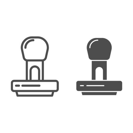 Stamp line and glyph icon. Stamper vector illustration isolated on white. Post cliche outline style design, designed for web and app. Illustration