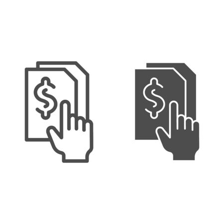 Bill paper line and glyph icon. List with dollar vector illustration isolated on white. Sheet with dollar sign outline style design, designed for web and app.