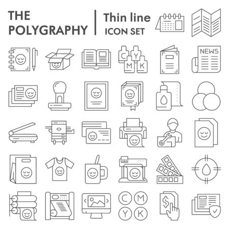 Polygraphy thin line icon set, printing symbols collection, vector sketches, illustrations, publishing signs linear pictograms package isolated on white background