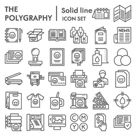 Insieme dell'icona della linea di poligrafia, stampa raccolta simboli, abbozzi vettoriali, illustrazioni di logo, pubblicazione pacchetto di pittogrammi lineari segni isolato su priorità bassa bianca Logo