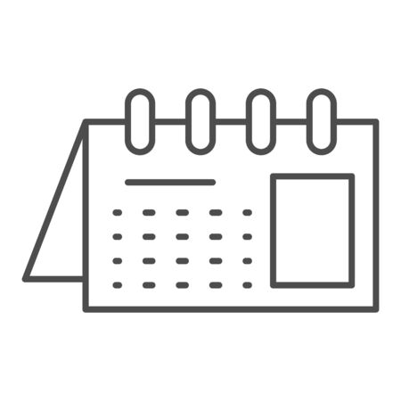 Calendar thin line icon. Reminder on spiral vector illustration isolated on white. Office agenda outline style design, designed for web and app.