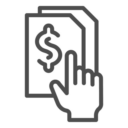 Bill paper line icon. List with dollar vector illustration isolated on white. Sheet with dollar sign outline style design, designed for web and app. Illusztráció