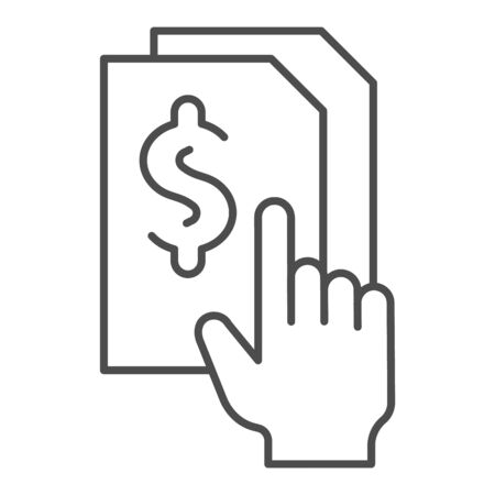 Bill paper thin line icon. List with dollar vector illustration isolated on white. Sheet with dollar sign outline style design, designed for web and app.