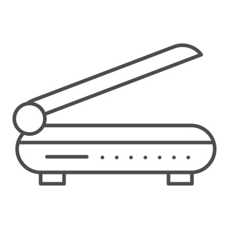 Scanner thin line icon. Document scan vector illustration isolated on white. Copy equipment outline style design, designed for web and app