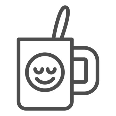 Cup with teaspoon line icon. Souvenir mug with smiley vector illustration isolated on white. Drink outline style design, designed for web and app. Stok Fotoğraf - 132074777