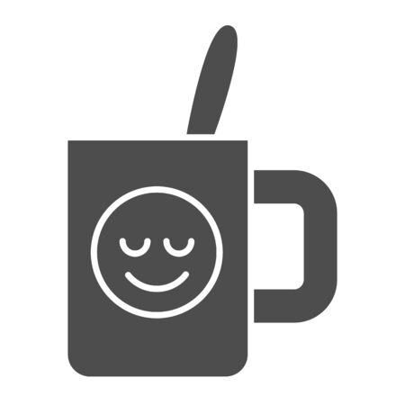 Cup with teaspoon solid icon. Souvenir mug with smiley vector illustration isolated on white. Drink glyph style design, designed for web and app.